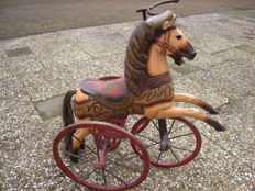 Bicycle horse - wood - cast iron - painted polychrome