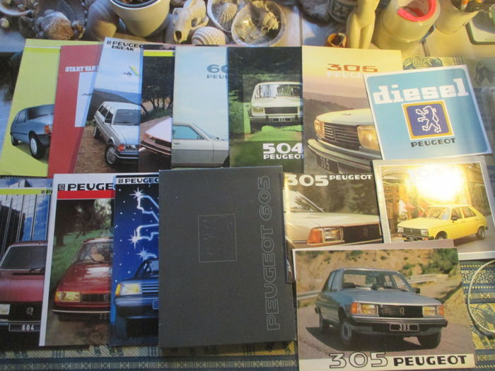 Car brochures (Peugeot, including 104/305/504/604, 15x, 1978-1988)