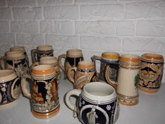 Nice collection of 12 German stoneware beer mugs