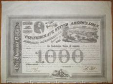 USA - Confederate States of America - 8% Loan (Act of February 20 1863) $1000 1863 - Criswell 125