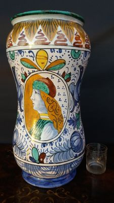 Large Ceramic Albarello Pharmacy Jar, painted - Faenza