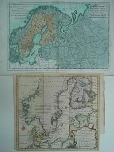 Noord-Europa, Oostzee; T. Jefferys /  G.T. Raynal - A Chart of the Baltic Sea Gulfs of Finland and Bothnia / Le nord de l' Europe - 1748 / 1780