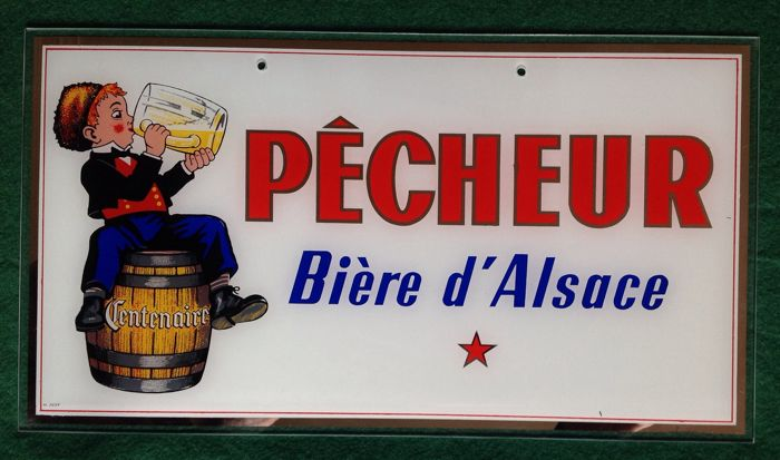 Advertising plate - Pêcheur bière d'Alsace - first half of the 20th century