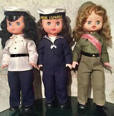 1970s. Three vintage dolls of the Spanish Armed Forces (Air Force, Navy and Army). General Franco's time. Spain