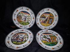 4 Ceramic Plates, hand-decorated with the Four Seasons, Capuani school of ESTE