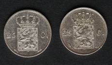Netherlands - 25 cents 1826U nd 1826B Willem I (2 different coins) - silver