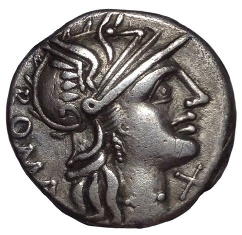 Roman Republic - C. Minucius Augurinus - AR Denarius (Silver, 18mm, 3,77gm), Rome mint c. 135 BC - Head of Roma / Ionic column - Cr. 242/1; Syd. 463