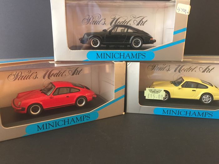 Minichamps - Scale 1/43 - Lot of 3 Porsche: 911 Coupé Carrera 1978 - 1983 Red, 911 Coupé Carrera 1978 - 1983 Black and 964 Carrera 2/4 1992 Light Yellow