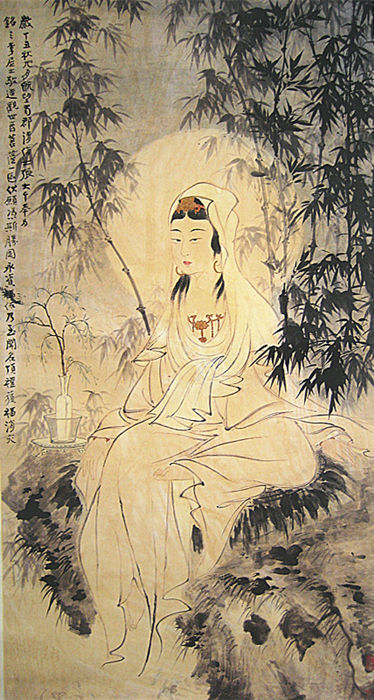 A scroll painting,Bamboo Guanyin made after Zhang Daqian - China - late 20th century