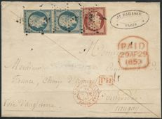 France 1853 - Cérès 1 Franc crimson and Presidency 25 cents blue letter to Uruguay, ROUMET certificate - Yvert no. 6 and 10