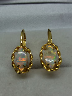 Vintage pair Marquise cut old Australian Opals in gold screw back earrings