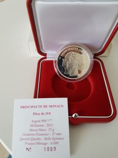 Monaco - 10 Euro 2011 'Albert II and Charlene's wedding' - silver