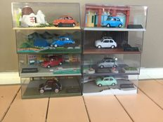 Altaya - Scale 1/43 - Lot of 8 Fiat 500 on diorama