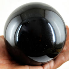 "Top High Polished Black Obsidian ""healing ball"" - 91 mm - 903 gm"