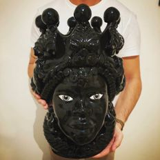 Head of Moor, Fine Ceramics of Caltagirone, H 48 cm, Woman Handcrafted Shiny Black