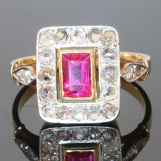 Art Deco Verneuil Ruby and diamonds ring, circa 1930