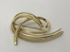 Brooch 585 / 14 kt ribbon, pretzel, abstract heart