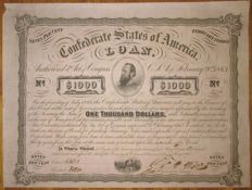 USA - Confederate States of America - 7% Loan (Act of February 20 1863) $1000 1863 - Criswell 122