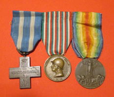 Set of three medals of a World War I Italian vete