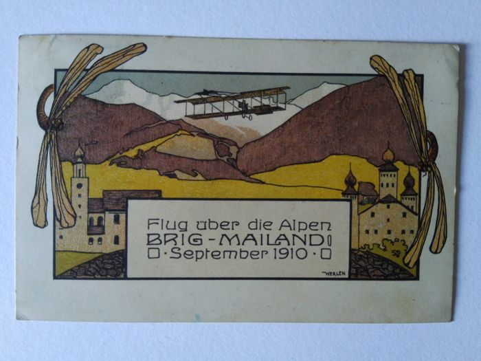 Postcard of the first flight over the Alps BRIGA MILAN 1910