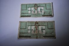 Netherlands 2 x banknotes from Camp Westerbork 100 cent 1944