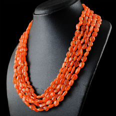 Carnelian necklace 5 Strands with 18 kt (750/1000) gold, length 50cm