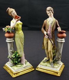 Pair of Capodimonte Fine Porcelain Figurines - Gentleman and Lady