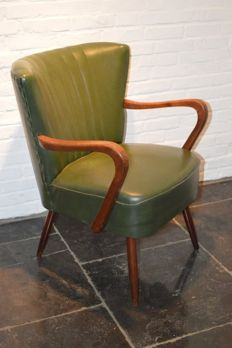 Producer unknown - Green skai Cocktail chair with armrests
