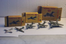 Dinky Toys - Scale 1/200 -Vicker Supermarine Spitfire Mk II no.62a - Hawker 'Hurricane' Single-Seater Camouflaged Fighter no.62h - Gloster Javelin Delta Wing Fighter no.735 - Hawker Hunter Fighter no.736 - Vickers-Supermarine 'Swift' Fighter no.734