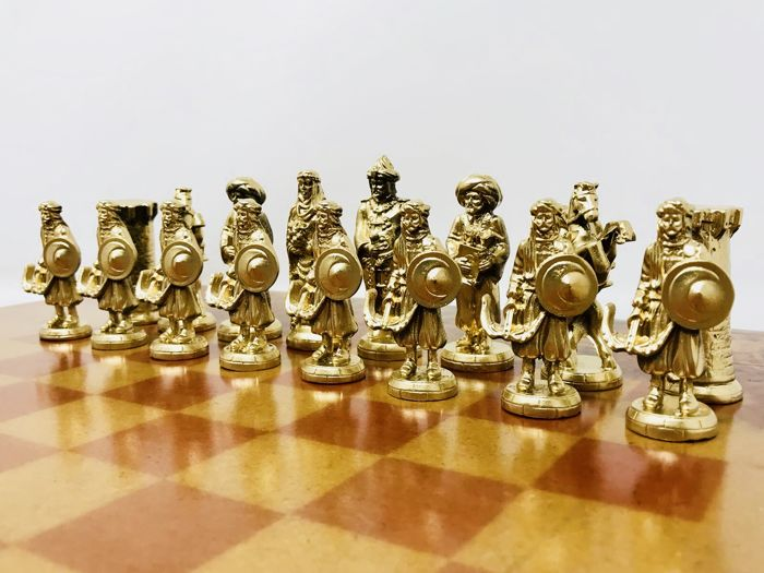 Medieval chess with wooden board