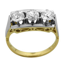 Old-Mine-cut Three-stone 1.25ct Diamond Ring in Mint Condition.