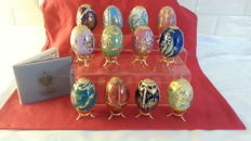 House of Fabergé - 12 Collector eggs  -handcrafted fine porcelain - gold paint 22 k - certificate of authenticity