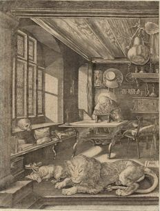 Albrecht Dürer (after), Anonymous, Hiëronymus , Saint Jerome in his study,  18-19th century