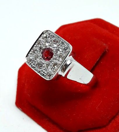 Gold ring with 15 diamonds totalling 0.50 ct - 1 ruby of 0.25 ct - Size: 17.1 mm