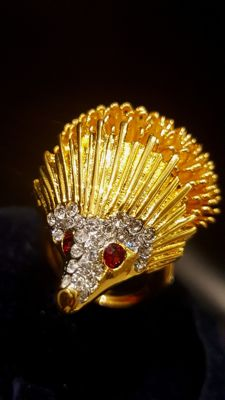 Kenneth Jay Lane - RARE 18kt gold plated Hedgehog Ring