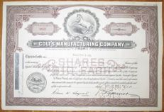 USA - Colt's Patent Fire Arms Manufacturing Company Share Certificate 1955 - famous Colt pistol manufacturer