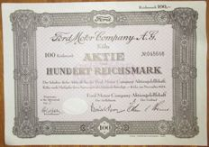 Germany - Ford Motor Company AG - Aktie Share 100 Reichsmark Cologne 1934 - stock certificate of famous Ford car manufacturer