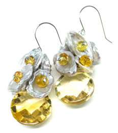 18K Earrings Citrine Grey Pearl Chips Yellow Sapphire White Freshwater Pearl - Length: approx 35.00 mm