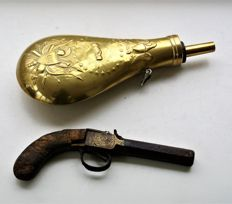 English percussion pistol from 1850/1860 and Vintage, Civil War copper Peace Gun Powder Flask
