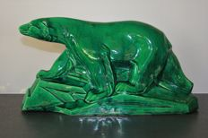 """Dax - Art Deco sculpture made of crackled ceramic """"Ours Polaire"""""""