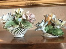 Fine Pair of Capodimonte Ceramic Sculptures of a Basket and a Candle Holder with Coloured Roses decoration