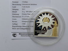 Cook Islands - 5 Dollars 2013 - 'Church of the Nativity Bethlehem' - partially gold-plated with Swarovski stones - silver