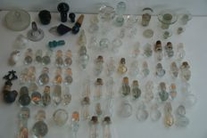 Rare collection of 80 antique glass/crystal decanter stops