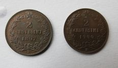 Kingdom of Italy - 2 cents 1897 and 1900 Umberto I (2 coins)