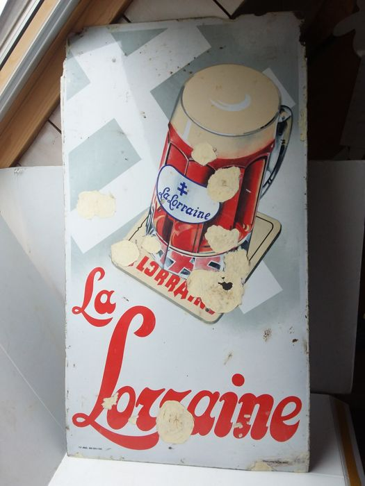 very old enamel sign la lorraine - 1935.