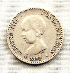 Spain - Alfonso XIII - VARIANT - (*2-2) - 50 Centimos in silver - 1892*2-2 - Madrid