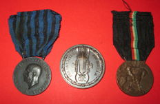 Set of three bronze fascist medals - Fascist war campaigns in Italian East Africa and Canoe Federation