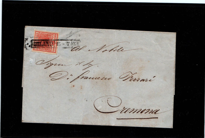 Lombardy-Venetia 1850 - three letters with 15 cent stamps from the first issue -Sassone Nos.  3 and 4