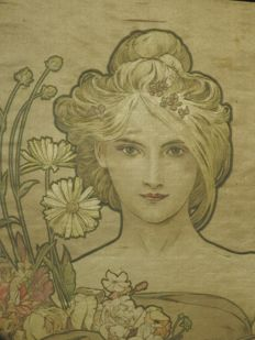 Mucha - Authentic artwork on silk from 1900
