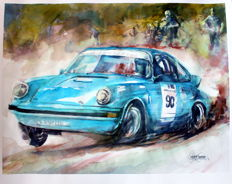Porsche 911 - Series Rallie Cars - Original Watercolour - 40 x 50 cm - By Gilberto Gaspar